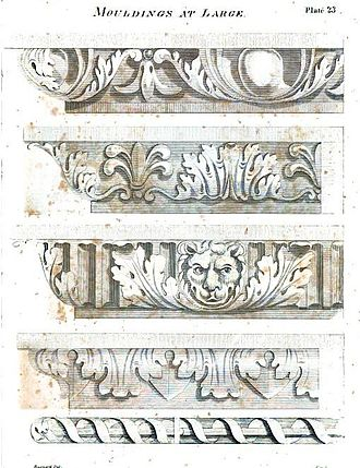 "Asher Benjamin - ""Mouldings at large,"" from The American Builder's Companion, 1816"