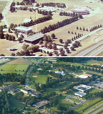University of Mount Olive - Aerial view comparisons of the main campus (Top to Bottom: circa 1980, 2012)