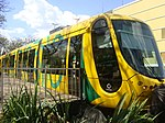 Mulhouse Alstom Citadis 302 tram on loan in Brasilia, Brazil in September 2009.jpg