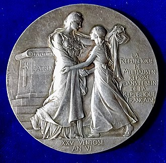 Mulhouse - Mulhouse joining Alsace 100th anniversary medal 1898 by Frédéric Vernon, obverse.