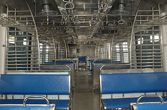 Mumbai Suburban Railway - The interior of MRVC Siemens Rakes