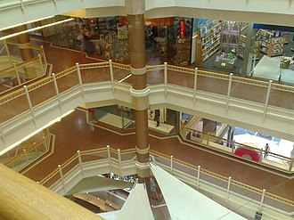 Myer Centre, Adelaide - Inside of the Myer Centre in 2007, prior to remodelling, looking down from the 5th floor.