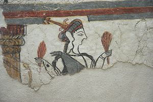 Mycenaean religion - Fresco depicting a goddess or priestess in Mycenae, 1250–1180 BC.