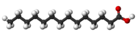 Ball-and-stick model of myristic acid