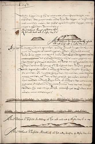 Tongatapu - Page from the ship's log of Abel Tasman with the description of t' Eijlandt Amsterdam, nowadays Tongatapu