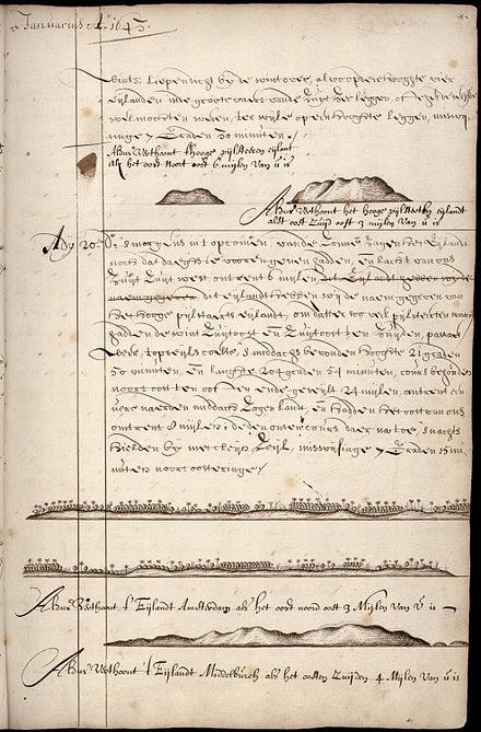 Page from the ship's log of Abel Tasman with the description of t' Eijlandt Amsterdam, nowadays Tongatapu NL-HaNA 1.11.01.01 121 0051 Scheepsjournaal Abel Tasman 35.jpg