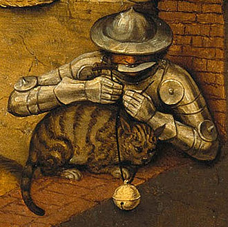 """Belling the cat - """"Belling the cat"""" is one of the proverbs illustrated in Pieter Bruegel I's painting Netherlandish Proverbs (1559)."""