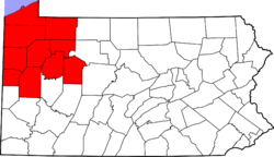 Map of counties in Northwestern Pennsylvania