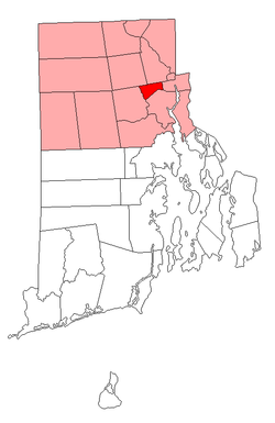Location of North Providence in Providence County, Rhode Island
