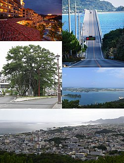 Top left:A resort place in Busena marine park, Top right:Koriya Bridge, between Yagagi and Koriya Island, Middle left:A Hinpun Gajumara tree in Higashie area, Middle right:View of Yagagi Island, from Arashiyama observation deck, Bottom:Panorama View of downtown Nago, from Nago Central Park
