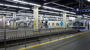 Namba Station - Nankai station platforms, with several trains waiting at different platforms