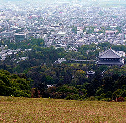 A view over the city, Tōdai-ji (front, right) and the Prefectural Government office (left)