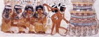 Tomb fresco depicting dancers and musicians in elaborate wigs. Thebes, Egypt, 18th Dynasty.[3]