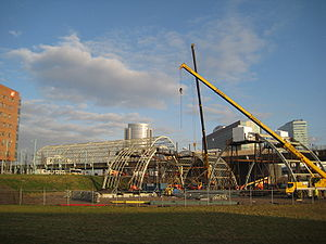 Amsterdam Sloterdijk station - Construction of the platform on the Hemboog chord, December 2008