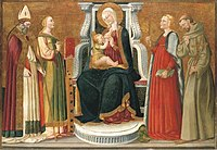 Neri di Bicci - The Madonna and Child with a Bishop Saint, Saints Catherine of Alexandria, Margaret of Antioch and Francis of Assisi.jpg