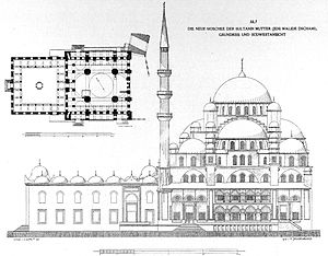 New Mosque (Istanbul) - Elevation and plan published by Cornelius Gurlitt in 1912