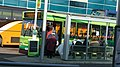 Newport bus station stand E route 1 delay notice.JPG