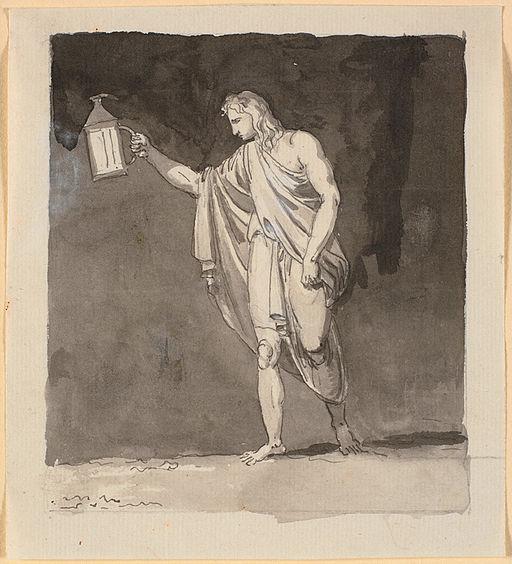 Nicolai Abildgaard - Diogenes der lyser i mørket med en lygte