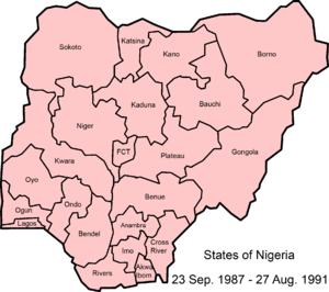 States of Nigeria - Image: Nigeria states 1987 1991