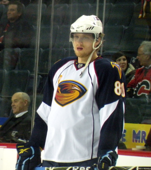 Atlanta Thrashers forward Nik Antropov prior t...
