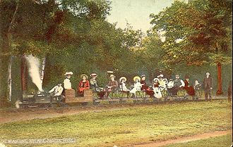Sutton Park - Postcard showing Locomotive 'Nipper' and train, on the miniature railway.