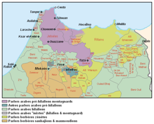 Moroccan Darija - Ethno-linguistic map of northern Morocco: Pre-Hilalian speaking areas in purple (Mountain Arabic) and blue (old urban, village).