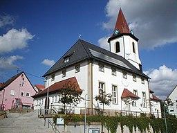 Evangelische Bartholomäuskirche in Nordheim. Vorgängerbauten niedergebrannt 1693, 1810, 1945. Renoviert 1989-91.