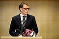 Nordiska radets nyvalda president, Helgi Hjorvar (A) Island, haller tal. Nordiska radets session 2009 (1).jpg