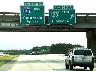 Interstate 20 - Approaching the eastern terminus of I-20 on I-95, Florence, SC
