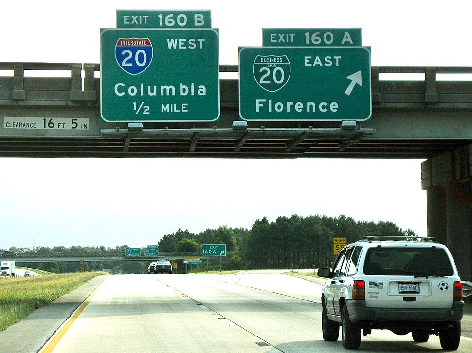Northbound Interstate 95 @ Interstate 20; Florence SC