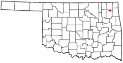 Location of Big Cabin, Oklahoma