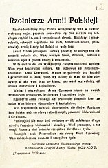 Soviet appeal to Polish soldiers of September 17, 1939, blaming the Polish government for the war
