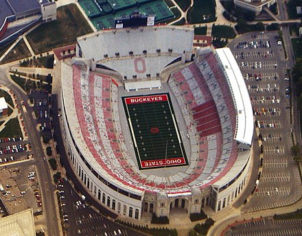 The Ohio Stadium, on the OSU Campus, is the 7th-largest non-racing stadium in the world and one of the largest football stadiums in the United States. Ohio Stadium, Columbus.jpg