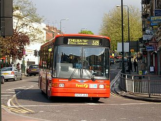 London Buses route 328 - First London Marshall Capital bodied Dennis Dart SLF in May 2004