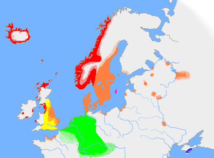 The approximate extent of Germanic languages in northern Europe in the early 10th century: Old West Norse Old East Norse Old Gutnish Old English Continental West Germanic (Old Frisian, Old Saxon, Old Dutch, Old High German). Crimean Gothic (East Germanic) Old norse, ca 900.PNG