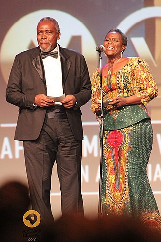 Africa Movie Academy Award for Best Actor in a Leading Role - 2007 Best Actor winner Olu Jacobs (left)
