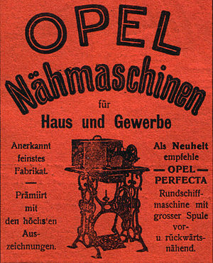 Opel - Advertisement for the Opel Perfecta sewing machines (1901)