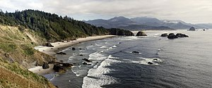 The Oregon coastline looking south from Ecola ...