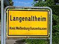 Ortsschild Langenaltheim, Landkreis Weißenburg-Gunzenhausen.JPG