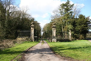 Ossington - Ossington Hall was built in 1729, enlarged c1790 and demolished in 1963. These gates remain as a grand entrance to the drive that now leads only to the parkland and Holy Rood church.