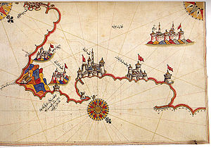 Otranto - Historic map of Otranto by Piri Reis.
