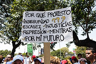 "Venezuelan protests (2014–present) - Protesters sign saying, ""Why do I protest? Insecurity, scarcity, injustices, repression, deceit. For my future."""