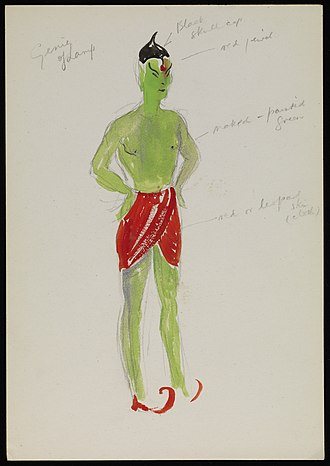 Edward Adamson - Painting of a genie costume design for Netherne pantomime by Adamson. Edward Adamson Archive, Wellcome Library.