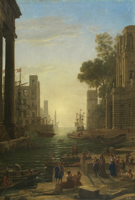 Paisaje con el embarco en Ostia de Santa Paula Romana (Gellée)