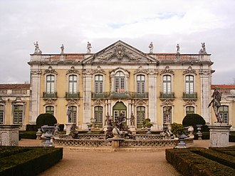 Queluz, Portugal - The Robillon block of the Queluz National Palace, once the centre of the Portuguese Cortes during the reign of Maria I of Portugal