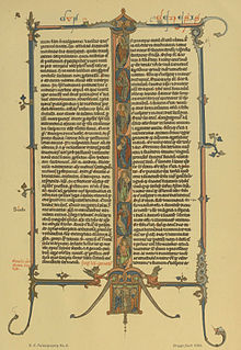 The first page of Genesis from a Latin Bible, probably from England, circa 1290-1300