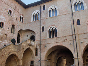 Palazzo Trinci - Inner courtyard and Gothic staircase