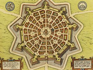 Bastion fort - 17th century map of the city of Palmanova, Italy, an example of a Venetian star fort