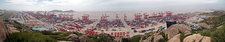 The Port of Shanghai's deep water harbor on Yangshan Island in the Hangzhou Bay became the world's busiest container port in 2010