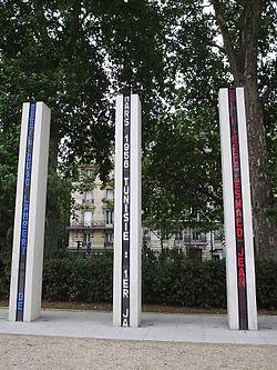 Mémorial national de la guerre d Algérie et des combats du Maroc et de la Tunisie, érigé quai Branly, à Paris.